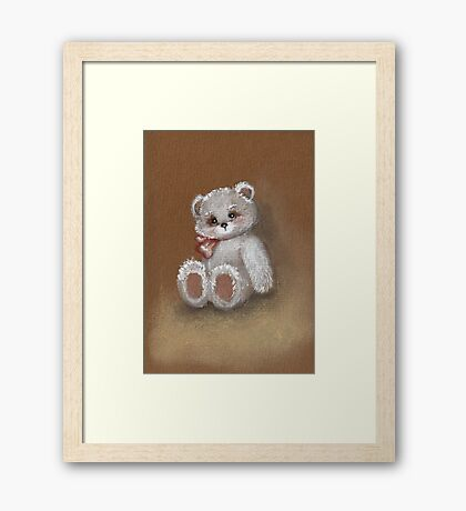 Teddy on toned paper Framed Print