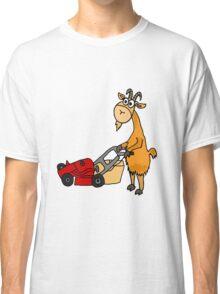 Funny Goat Pushing Lawn Mower Classic T-Shirt