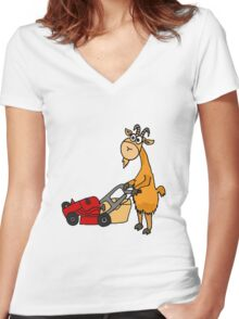 Funny Goat Pushing Lawn Mower Women's Fitted V-Neck T-Shirt