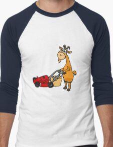 Funny Goat Pushing Lawn Mower Men's Baseball ¾ T-Shirt