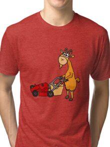 Funny Goat Pushing Lawn Mower Tri-blend T-Shirt