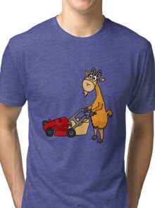 Funny Goat Pushing Lawn Mower Tri-blend T-Shirt