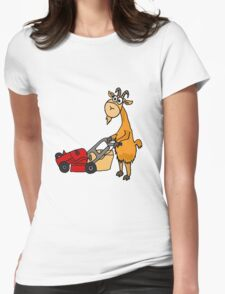 Funny Goat Pushing Lawn Mower Womens Fitted T-Shirt