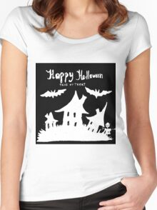 Hand drawn  ink Halloween's illustration  Women's Fitted Scoop T-Shirt