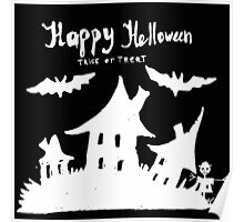 Hand drawn  ink Halloween's illustration  Poster