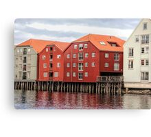 Wooden houses in Trondheim, Norway Canvas Print