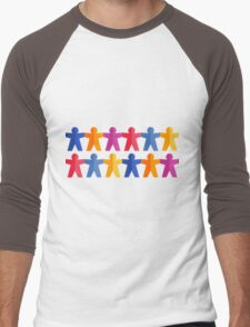Paper People Chain Men's Baseball ¾ T-Shirt