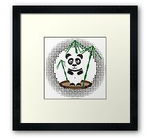 Illustration of  panda with bamboo Framed Print