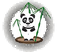 Illustration of  panda with bamboo Photographic Print