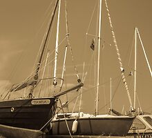 Sail boats in harbour by GLENN MCLELLAND