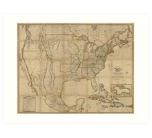 Map of the United States of America (1823) Art Print