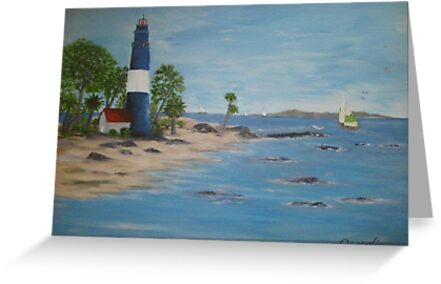 Lighthouse, a great day for sailing by Phyllis Frameli