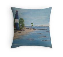 Lighthouse, a great day for sailing Throw Pillow