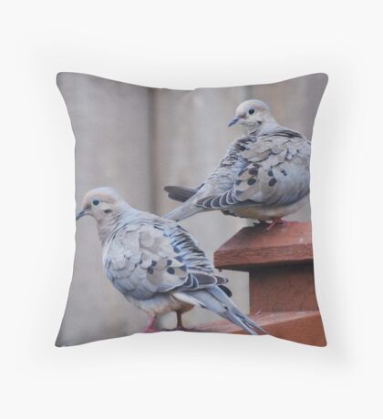 Doves on the fence Throw Pillow