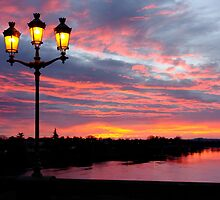 Bergerac Madeliene Bridge Red Sunrise by Howard Worf