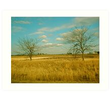 two trees in the field Art Print