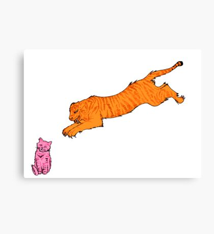 Sabre Toothed Tiger vs Kitten Canvas Print