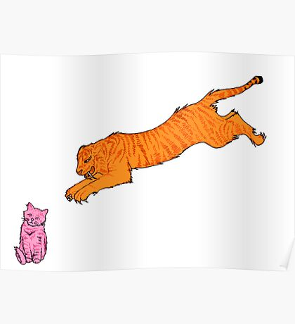 Sabre Toothed Tiger vs Kitten Poster