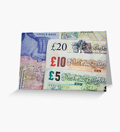 United Kingdom Five, Ten and Twenty Pound Notes Greeting Card