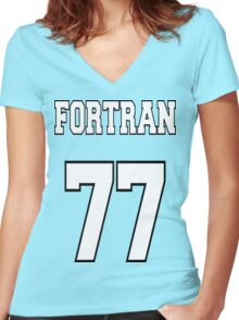 FORTRAN 77 - White on Green Design for Fortran Programmers Women's Fitted V-Neck T-Shirt