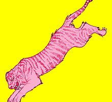 Pink Sabre-Toothed Tiger Jump on Yellow by joshwedlake