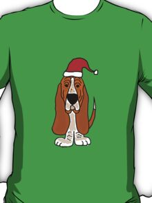 Adorable Basset Hound Dog with Red Santa Hat T-Shirt