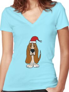 Adorable Basset Hound Dog with Red Santa Hat Women's Fitted V-Neck T-Shirt