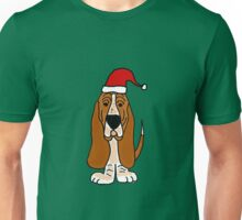 Adorable Basset Hound Dog with Red Santa Hat Unisex T-Shirt