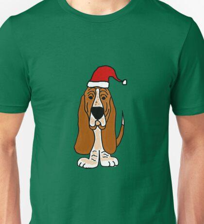 Adorable Basset Hound Dog with Red Santa Hat Unisex T-Shirt