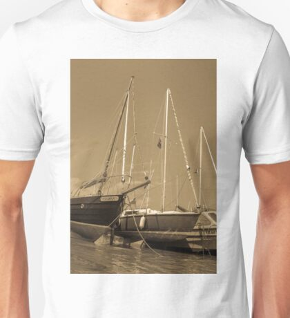 Sail boats in harbour Unisex T-Shirt