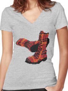 Rock Shoes - Pixel art Women's Fitted V-Neck T-Shirt
