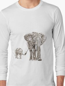 Swirly Elephant Family Long Sleeve T-Shirt