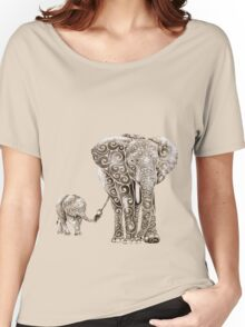 Swirly Elephant Family Women's Relaxed Fit T-Shirt