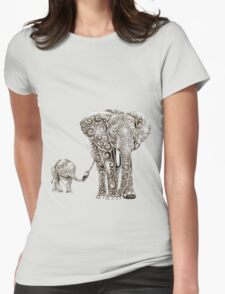 Swirly Elephant Family Womens Fitted T-Shirt