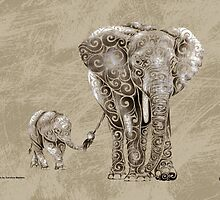 Swirly Elephant Family by CarolinaMatthes
