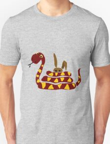 Funny Red and Yellow Snake Strangling Bunny T-Shirt