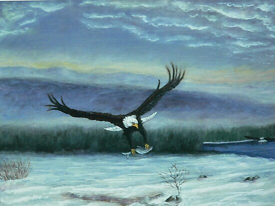 Eagle in flight by Dan Wagner