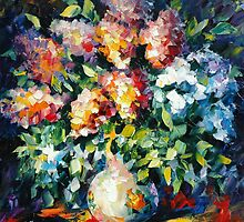 FLOWER BOUQUET - Original oil painting on canvas by Leonid Afremov by Leonid  Afremov
