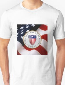 Adjutant General's Corps - AG Corps Branch Insignia over U. S. Flag T-Shirt