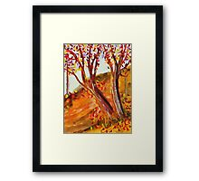 Falling leaves on the path, watercolor Framed Print