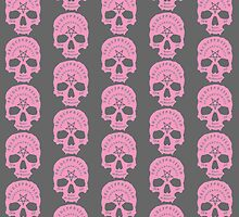 Pink Ouija Skull on Grey Background by Danielle Stanborough