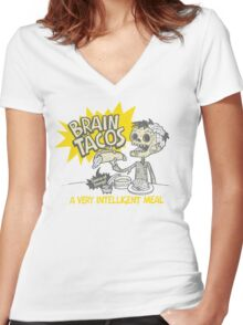 Brain Tacos Women's Fitted V-Neck T-Shirt