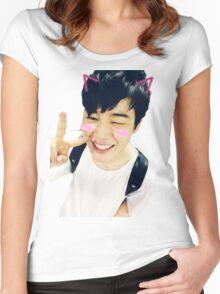 BTS Jimin Kawaii Selca Sticker Women's Fitted Scoop T-Shirt