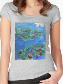 Claude Monet - Red Water-Lilies Women's Fitted Scoop T-Shirt