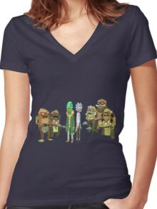 Tree people and Rick Women's Fitted V-Neck T-Shirt
