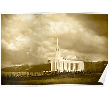 Sepia Big Sky Oquirrh Mountain Temple 20x30 Poster