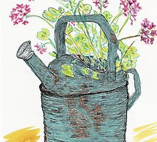 Geranium in old watering can by Lynda Earley