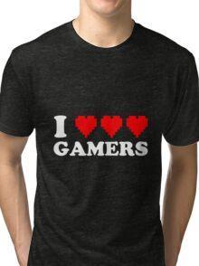 I Heart Gamers White Tri-blend T-Shirt
