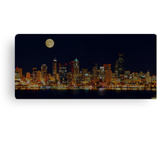 Full Moon Over Seattle Canvas Print