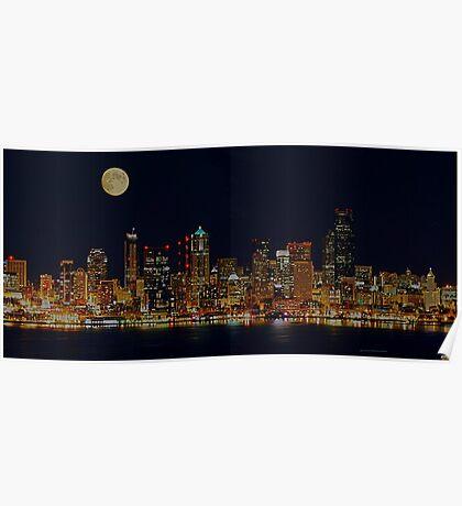 Full Moon Over Seattle Poster
